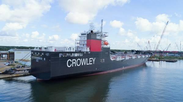 El Coqui, американский флагманский перевозчик ConRo, недавно построенный специально для торговли в соответствии с законом Джонса на Карибах и работающий на экологически чистом СПГ. КРЕДИТ: Кроули Морской