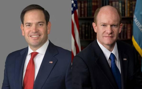 Ο Marco Rubio και ο Chris Coons (επίσημα πορτρέτα)