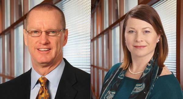 Michael Noone (links) wird President von TOTE Maritime Puerto Rico und Grace Greene (rechts) übernimmt die Rolle des President bei TOTE Maritime Alaska (Fotos: TOTE)