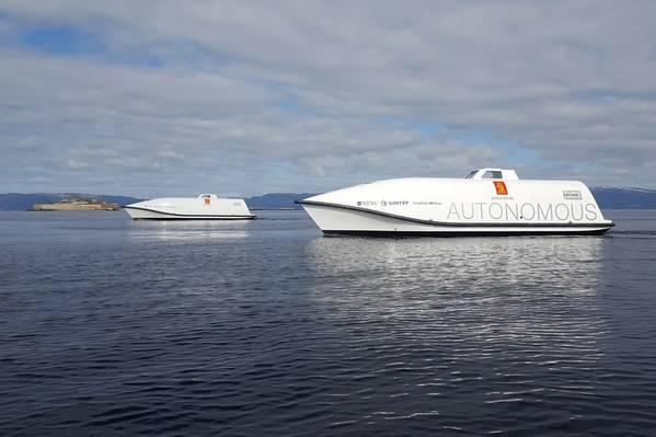 Os Ocean Space Drones 1 e 2 da KONGSBERG serão plataformas de teste no projeto H2H (Imagem: KONGSBERG)