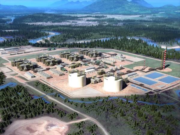 Renderização da instalação de exportação de GNL (Imagem: LNG Canada)