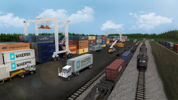 Uma renderização do projeto do porto interior da Geórgia (CREDIT: GA Ports)