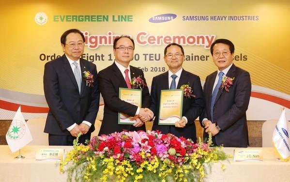 Da esquerda para a direita: presidente da EMC, Lawrence Lee; EMC Chairman Anchor Chang; SHI CEO JO Nam; SHI CMO KH Kim (Foto: EMC)