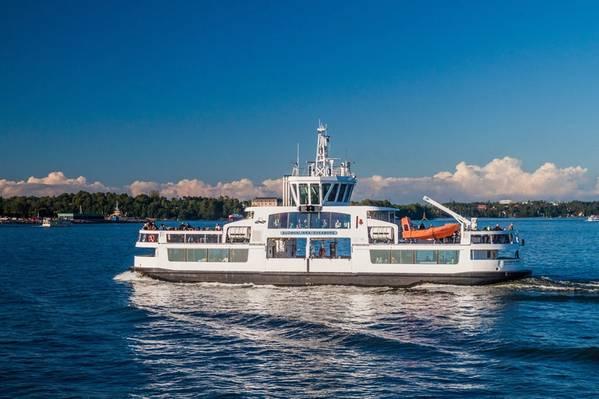 O ferry de passageiros Suomenlinna II, adaptado com o ABB Ability Marine Pilot Control, foi pilotado remotamente pela área de testes perto do porto de Helsinque em novembro de 2018. Foto: ABB