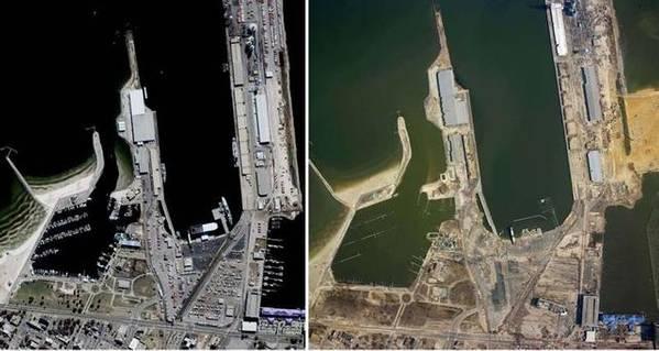 कैटरीना तूफान से पहले और बाद में गल्फपोर्ट। छवि: एनओएए
