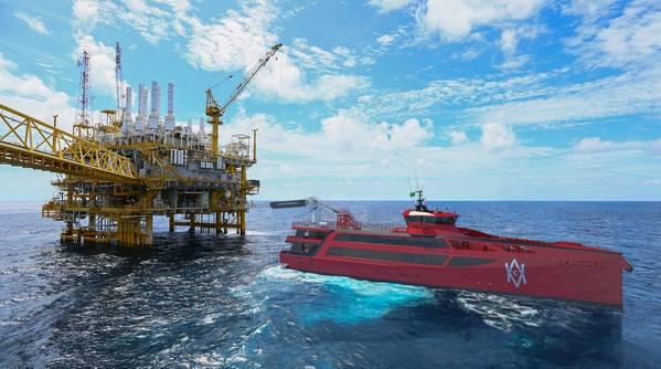 Damen FCS 7011 CMM na plataforma de petróleo (Foto: Damen Shipyards)