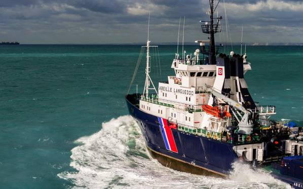 Imagem de arquivo de uma embarcação de apoio offshore Bourbon em andamento. CRÉDITO: Bourbon