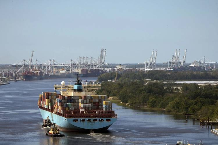 Containership MSC Kleven sails up river to the Port of Savannah after the Savannah River reopened following Hurricane Matthew in Savannah, Ga., Wednesday, Oct.12, 2016. Nine vessels worked at the Garden City Terminal on Wednesday. (Photo: Georgia Ports Authority/Stephen B. Morton)