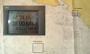 The equipment shows the ship's position is on land, instead of the actual position 25 nautical miles offshore.