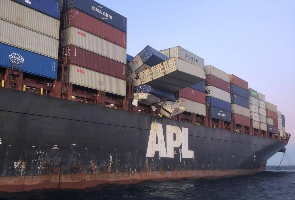 Singapore's APL England loses cargo in heavy Australian seas