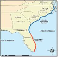 A map of the Atlantic Intracoastal Waterway (AIWA)