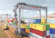 Automatically and/or remotely operated Rubber Tire Gantry [RTG] in operation. (Photo: Konecranes)