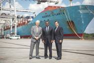 GPA Board Chairman Robert Jepson, Atlanta Mayor Kasim Reed, and GPA's Executive Director Curtis Foltz in front of the Maersk vessel Atlanta, Monday at the Georgia Ports Authority's Garden City Terminal. The officials gathered just before Vice President Joe Biden shared remarks at the Port of Savannah. (GPA photo/Luke Smith)