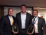 Bollinger's President and CEO, Ben Bordelon accepting SCA awards from Matthew Paxton (Left), SCA President and Ian Bennitt (Right), SCA Manager Government Affairs. (Photo courtesy of Bollinger)