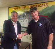 Captain Gus Gaspardo, Vice President Padelford Packet Boat Company, with Rob McMahon, Passenger Vessel Foundation (Photo: Passenger Vessel Foundation)
