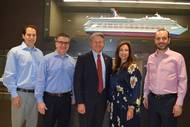 From left:  Carnival Corporation VP Port and Destination Development David Candib, Carnival Cruise Line EVP Professional Services James Heaney, Canaveral Port Authority Port Director and CEO Capt. John Murray, Carnival Cruise Line President Christine Duffy, and Carnival Cruise Line COO Gus Antorcha. (Photo: Carnival Cruise Line)