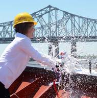 Carrie Templin christens Crowley's new product tanker Louisiana in New Orleans (Photo: Crowley)