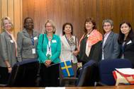 Vera Chalkidis, president of WISTA International, with some of the leadership team.  Left to right: Carleen Lyden-Kluss, Dime Agboire, Anna Risfelt Hammargren, Ms Chalkidis, Kathleen Haines, Consuelo Rivero, and Irene Lim. Photo courtesy Adrian Nettleship.