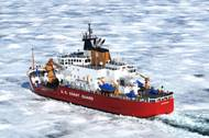 U.S. Coast Guard Cutter Mackinaw breaks ice in Whitefish Bay, Mich., in March 2009 (U.S. Coast Guard file photo by George Degener)