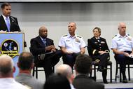 Coast Guard hosts Rescue 21 ceremony in Baltimore. Donald Wilt, senior director of federal-civil programs for General Dynamics C4 Systems, speaks during a Coast Guard Rescue 21 communications system acceptance ceremony at the Coast Guard Yard in Baltimore, Aug. 19, 2010. His company was awarded the Rescue 21 production contract in September 2002. U.S. Coast Guard photo by Petty Officer 2nd Class Andrew Kendrick.
