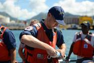 Coast Guard National Strike Force samples water in Honolulu Harbor
