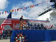 Congressman Garamendi providing remarks during the Change of Command Ceremony Photo USCG