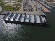 Crowley barge Marty J, recently outfitted to carry containers in this file photo, is among vessels transporting cargo to Puerto Rico after Hurricane Maria (Photo: Crowley)