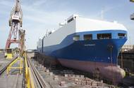 The Crowley-managed PCTC in ASRY's large 500,000 dwt graving dock in early February.