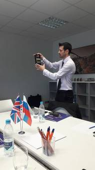 David Mullard leads a product demonstration at Euro-Lift in Russia. (Photo: Straightpoint)