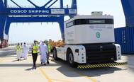 CSP Abu Dhabi container terminal has become the first facility to implement an autonomous port truck system at Khalifa Port. Photo courtesy CSP Abu Dhabi