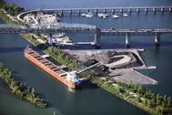 The Baie St. Paul discharges stone in August 2015 at the construction site of the new Champlain Bridge in Montreal. (Photo: Canada Steamship Lines/Mario Faubert)