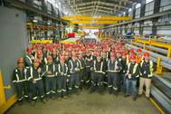 Employees at Vancouver Shipyards witness the first cut of steel on Seaspan's second National Shipbuilding Strategy (NSS) ship, Canadian Coast Guard (CCG)'s second Offshore Fisheries Science Vessel (OFSV). Courtesy Seaspan