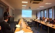 European shipowners' Sec Gen M Dorsman briefing Maritime Attachés on CO2 emissions. Photo: ECSA Twitter page