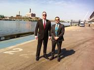 U.S. Federal Maritime Commissioner William P. Doyle and Nova Scotia's Minister of Natural Resources Zach Churchill in Boston waiting for the M/V Nova Star to dock.