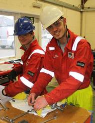 The first two Bibby apprentices – left to right – Ed Beattie and Alan Mackintosh. (Photo: The Underwater Center)