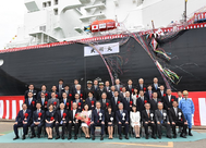 Front row, fifth from left, Satoshi Onoda, president of JERA; seventh, Seiji Izumisawa, president and CEO of Mitsubishi Heavy Industries; fourth, Tadaaki Naito, NYK president. (Photo: NYK Group)
