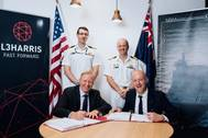 Front row L-R: Nigel Bagster, Managing Director, Communications Australia, L3Harris, and Joe Smith, General Manager, Naval Ship Management. Back row L-R: Commander Dane Wilson, Sustainment Manager, Amphibious Combat and Sealift SPO, RAN, and Captain Bradley Smith, Director, Amphibious Combat and Sealift SPO, RAN.  (Photo: NSM)