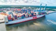 On June 3 SCPA handled record cargo moves on the 13,208 TEU OOCL France, the largest vessel ever to call the Port of Charleston. (Photo: SkyView Aerial Solutions / SCPA)