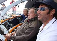Harry Horgan, President George HW Bush and Captain William Rey aboard The Impossible Dream. Photo Credit: Evan Sisley,Office of George Bush