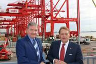 Gary Hodgson (left), Chief Operating Officer at Peel Ports with Transport Minister John Hayes (Photo: Peel Ports)