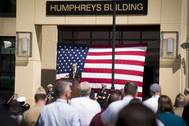 Howard Joshua Humphreys, descendent of 19th century American frigate designer Joshua Humphreys, delivers remarks at a dedication ceremony for Naval Sea Systems Command headquarters. Humphrey's ancestor designed the original six U.S. Navy frigates, including USS Constitution. (U.S. Navy photo by Nathan Laird)