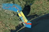 image illustrating depths of Houston / Galveston Ship Channel