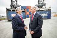 Paul 'Chip' Jaenichen visits with Gary LaGrange at the Port of Greater Baton Rouge to officially award a MARAD grant of $1.75 million for Container on Barge service. The visit and award ceremony was held at the SEACOR AMH office Tuesday, Dec. 6, 2016 at the Port's Inland Rivers Marine Terminal in Port Allen, La. Port of New Orleans (Photo: Port of New Orleans)