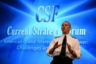 U.S. Navy CNO Adm. Jonathan W. Greenert, delivers remarks to U.S. Naval War College students and distinguished guests during the 65th annual Current Strategy Forum. (U.S. Navy photo by James E. Foehl)