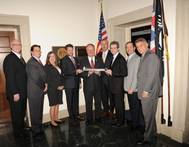Rep. Joyce (fifth from left), accepts his award from Great Lakes Maritime Task Force.  Joining him (l-r): Tom Curelli, Fraser Shipyards; Aaron Bensinger, Central Marine Logistics; Brenda Otterson, American Maritime Officers; Andrew Strosahl, Transportation Institute; Mark Barker, The Interlake Steamship Company; Thomas Rayburn, Lake Carriers' Association; Steve Fisher, American Great Lakes Port Association; and Jeffrey Freeman, Fincantieri Marine Group. (Photo: LCA)