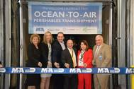 Kimberly Wakeman, vice president, Customized Brokers; Nelly Yunta, vice president, Crowley; Edgar E. Baldizon, commercial director, Linea Vegetal Tecpan SA; Joseph Napoli, chief of staff, Miami-Dade Aviation Department (MDAD); Patricia Millon, vice president, Centurion Cargo, Perishable Goods & Imports; and Ernesto Rodriguez, chief, MDAD Marketing Division. (Photo: Crowley)