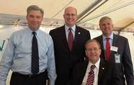 """Rep. Jim Langevin (front), Sen. Sheldon Whitehouse, Acting Maritime Administrator Paul """"Chip"""" Jaenichen, and ProvPort Chief Operating Officer Bruce Waterson"""