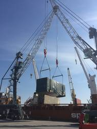 Liebherr container cranes in the port of Cleveland, Ohio (Port of Cleveland)
