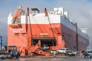 Local workers unload new automobiles from the WWO vessel at the Port of Hueneme  (Photo: Port of Hueneme)
