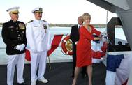 Mrs Lynne Pace Christens 'America': Photo credit HII